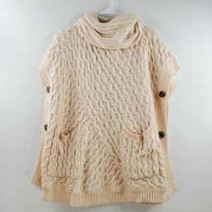 Anthropologie Chunky Cable Knit Poncho